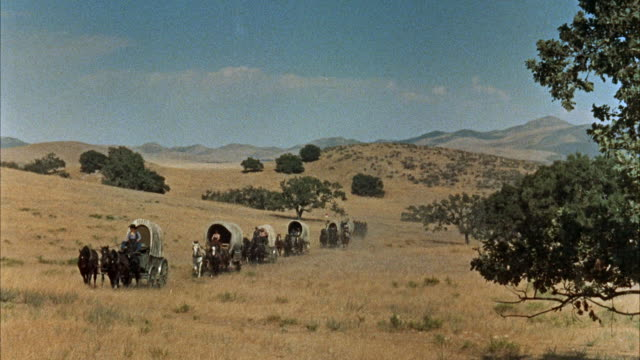 ws wagon train crossing  praire - horse cart stock videos and b-roll footage