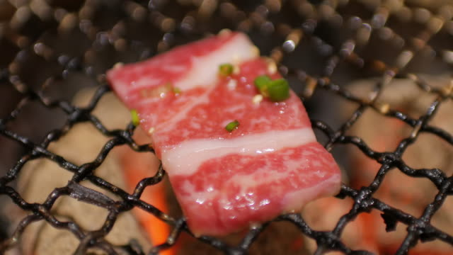 Wagyu beef grilling at japanese restaurant