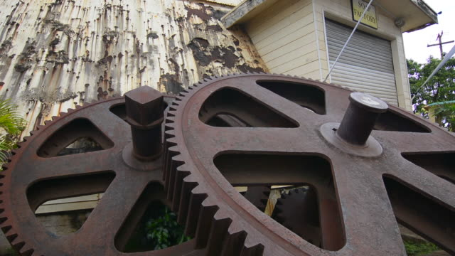 Waialua Hawaii Oahu old deserted sugar mill with giant gears deserted mill