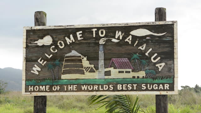 waialua hawaii oahu sign of sugar town - welcome sign stock videos & royalty-free footage