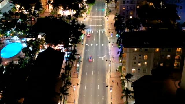 waikiki at night, time lapse - oahu stock videos & royalty-free footage