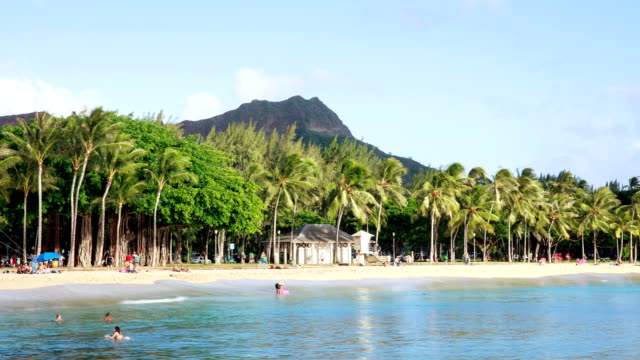 vídeos y material grabado en eventos de stock de waikiki beach and diamond head daytime landscape in honolulu, hawaii, usa - honolulu