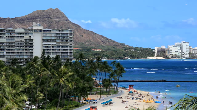 ワイキキビーチとダイアモンドヘッド - ハワイ島点の映像素材/bロール