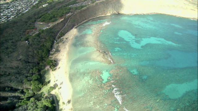 aerial ws pan waikiki beach, honolulu, hawaii, usa - oahu stock videos & royalty-free footage
