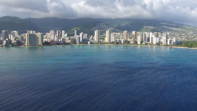 WS AERIAL TU Waikiki Beach, sea in foreground / Hawaii, United States