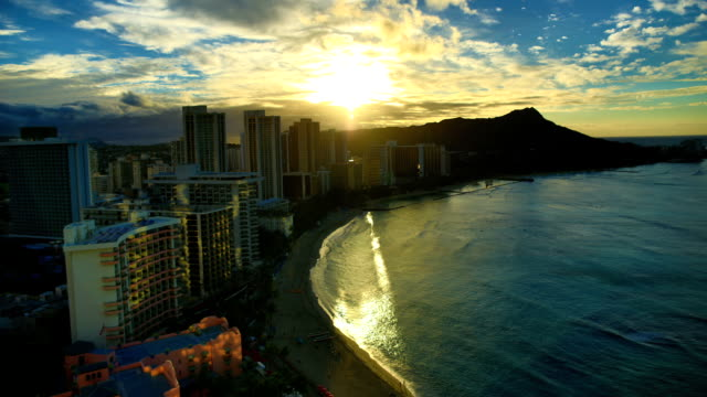 waikiki beach sunrise - honolulu stock videos and b-roll footage