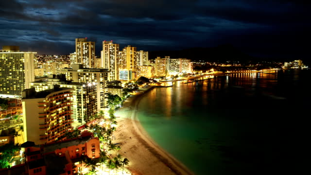 stockvideo's en b-roll-footage met waikiki beach time-lapse - oahu
