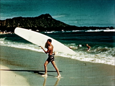 1950 waikiki beach, tourist bureau - hawaii islands stock videos & royalty-free footage