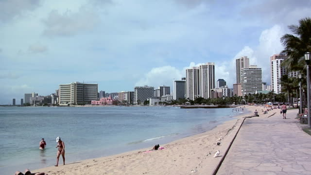 WS Waikiki Beach with hotels in background, Honolulu, Hawaii, USA
