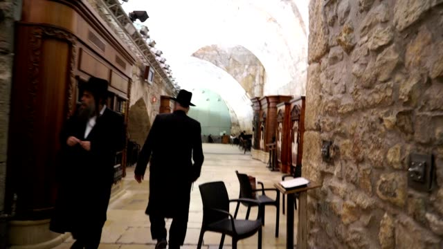 Wailing Wall tunnel and interior prayer section leading to Wilson's Arch