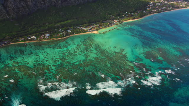 aerial waimanalo beach, oahu, hawaii - oahu stock videos & royalty-free footage