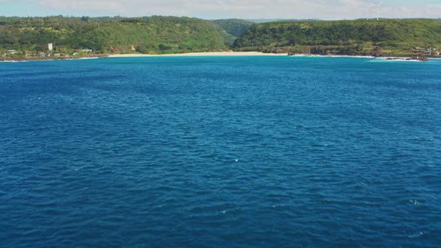 aerial waimea bay, hawaii from the ocean - oahu stock videos & royalty-free footage