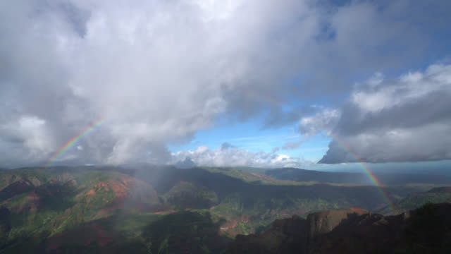 waimea canyon full rainbow - kauai stock videos & royalty-free footage