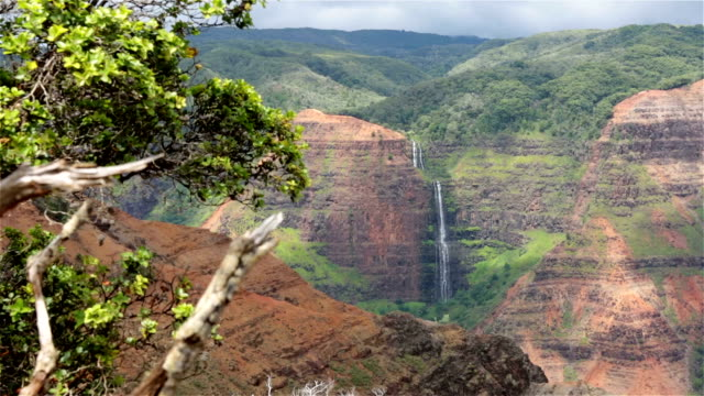 waimea canyon state park landscape and waterfall, kauai, hawaii - hawaii islands stock videos and b-roll footage