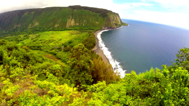 waipio valley aerial - hawaii islands stock videos and b-roll footage