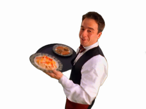 Waiter presenting meal