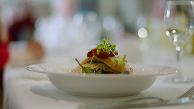 waiter serves two means - fish and vegetables - main course stock videos & royalty-free footage