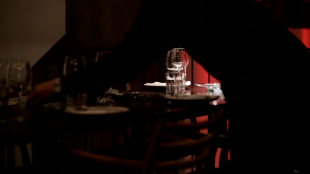 waiter setting the table in restaurant - tablecloth stock videos & royalty-free footage