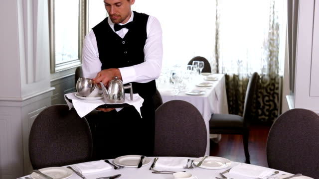 waiter setting the table - kitchen utensil stock videos & royalty-free footage