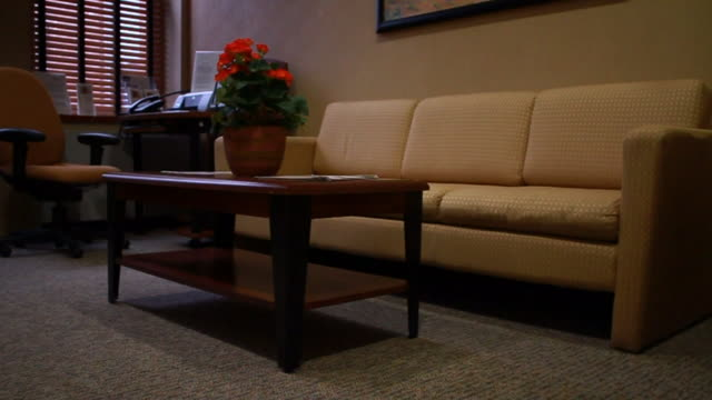 waiting room w/ windows coffee table chairs flowers desk couch - coffee table stock videos & royalty-free footage
