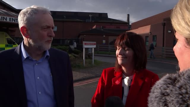ae waiting times in wales are worst since march and well below target ext jeremy corbyn mp and karen lee mp chatting to press jeremy corbyn mp and... - fake hospital stock videos & royalty-free footage