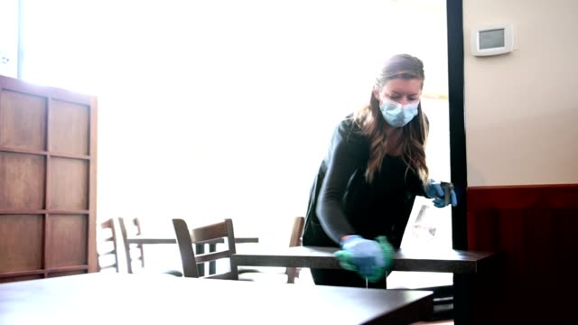 waitress cleaning a table - restaurant stock videos & royalty-free footage
