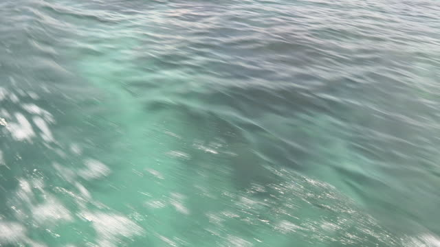 cu wake of a motorboat over coral - seicht stock-videos und b-roll-filmmaterial