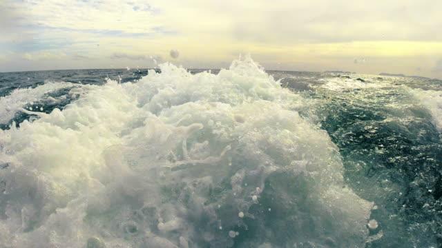 「白馬」のようなボートの旅の後ろから水を覚ます - nautical vessel点の映像素材/bロール
