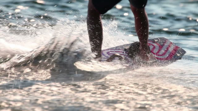 hd wakeboarder on lake - wakeboarding stock videos and b-roll footage