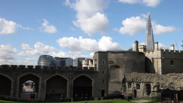 wakefield tower and the shard building in the background, tower of london - tower of london stock videos & royalty-free footage