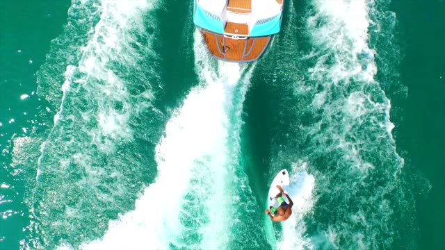 wakesurfing view from above - wake water stock videos & royalty-free footage
