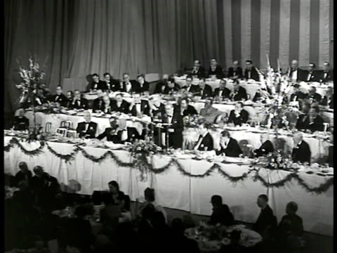 ms 'waldort astoria' hotel us france flags int ws dinner celebration vs france prime minister leon blum at podium giving speech about french worth nyc - waldorf astoria stock videos & royalty-free footage
