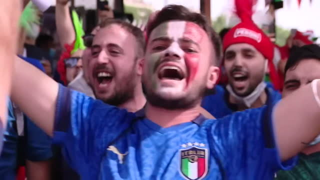 wales and italty fans in rome before their euro 2020 match - fan enthusiast stock videos & royalty-free footage