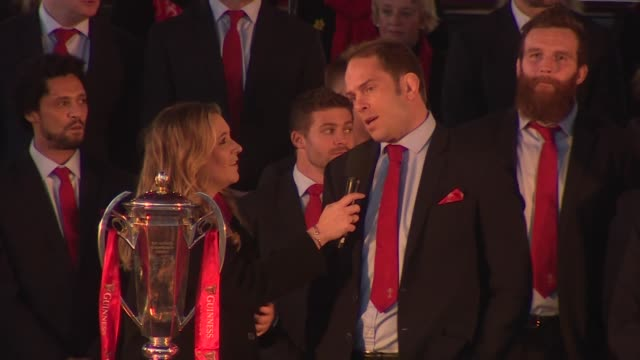 wales captain alun wyn jones addressing crowds in cardiff after their six nations grand slam success - cardiff wales stock videos & royalty-free footage