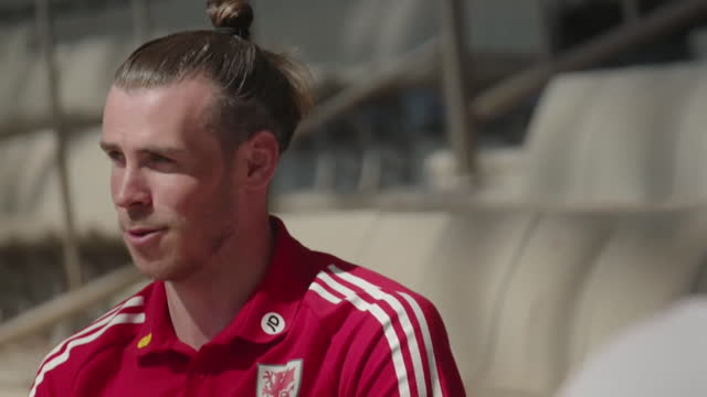 """wales captain gareth bale saying leading his country out in a major tournament is something he """"dreamed of as a kid"""" - aspirations stock videos & royalty-free footage"""