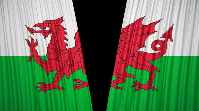 wales flag curtain cloth - national landmark stock videos & royalty-free footage