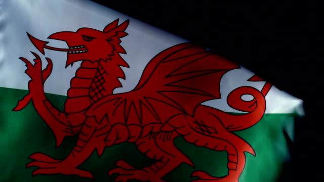 wales flag flapping - welsh culture stock videos & royalty-free footage