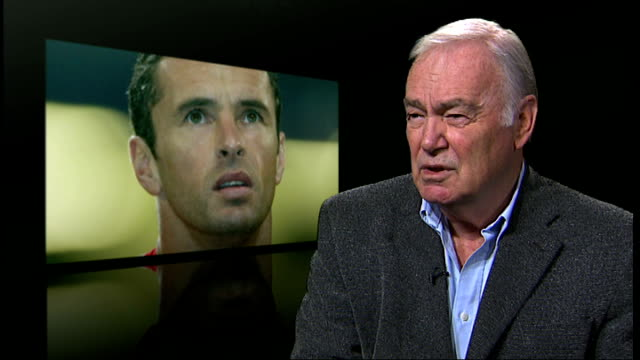 wales football manager gary speed found dead at his home in chester; london: int david frith interview sot - 英国チェスター点の映像素材/bロール
