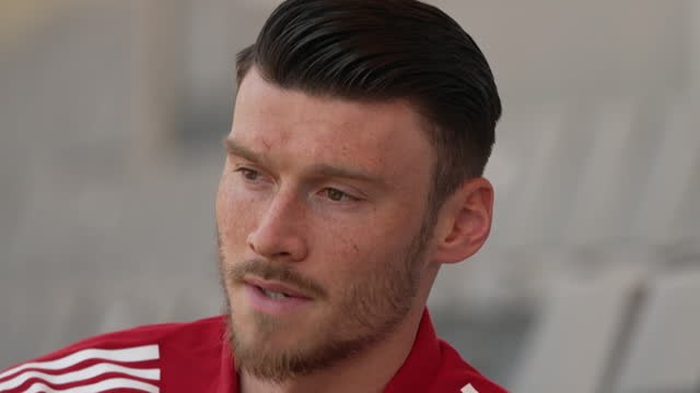 wales forward kieffer moore saying the team are aiming to win their euro 2020 match against turkey - aspirations stock videos & royalty-free footage