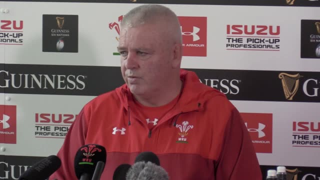 Wales head coach Warren Gatland speaking at press conference ahead of Guinness Six Nations match against England in Cardiff on Saturday