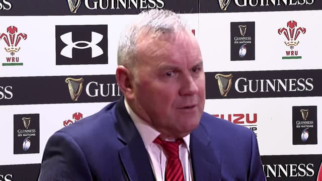 wales head coah wayne pivac praises his new try scorer, former england junior international centre nick tomkins, who crossed over on debut after... - former stock videos & royalty-free footage