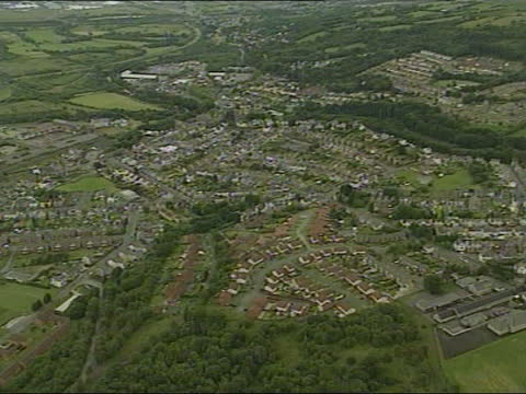 power family murders: three arrested:; wales: clydach: ext air view town where murders took place - murder stock videos & royalty-free footage