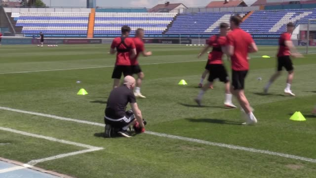 Wales train ahead of their Euro 2020 qualifier against Croatia The two sides play in Osijek on Saturday
