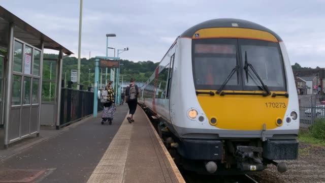 wales train arrives at newbridge train station for ebbw vale to transport passengers on june 8 2020 in newbridge wales united kingdom as the british... - railway station stock videos & royalty-free footage