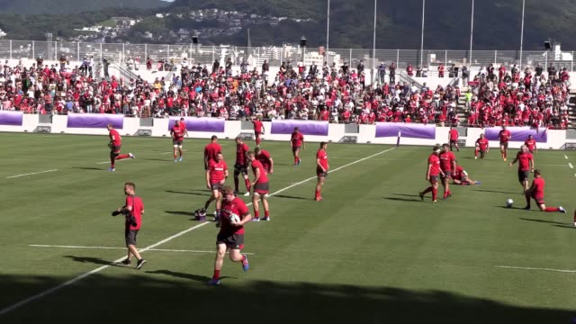 wales' world cup campaign had a spectacular lift-off in kitakyushu on monday when 15,000 people attended an open training session. kitakyushu stadium... - fukuoka prefecture stock videos & royalty-free footage