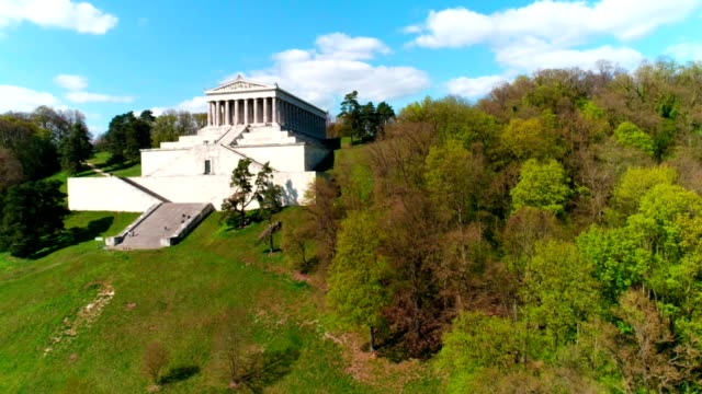 walhalla memorial above the danube river flyover - hall of fame stock videos and b-roll footage