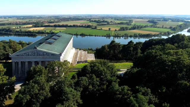 walhalla memorial above the danube river - hall of fame stock videos and b-roll footage