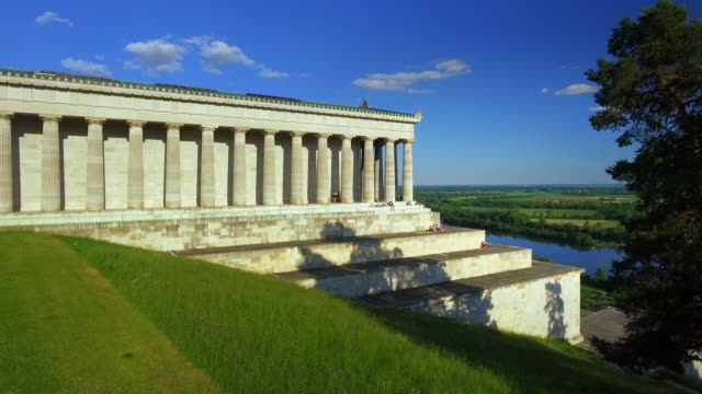walhalla memorial above the danube river - neo classical stock videos & royalty-free footage