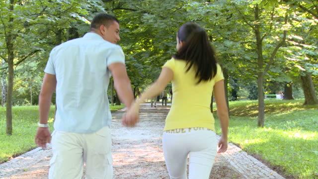 stockvideo's en b-roll-footage met hd crane: walk in the park - crane shot
