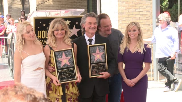 stockvideo's en b-roll-footage met clean walk of fame to honor goldie hawn and kurt russell with special double star ceremony on may 4 2017 in hollywood california - hollywood walk of fame